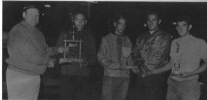 Championnat en simple 1969: Rosaire Brunelle (C), Gilles Roy (B), Glles Pouliot, Fernand Thibeault (A).