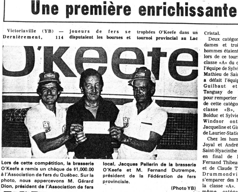 1979 - 1er tournoi provincial au Lac Cristal