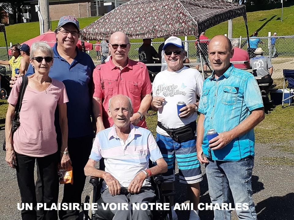 2019 - belle visite à Victo: Claudette, André L, André T, Gérard, Louis et Charles à l'avant.