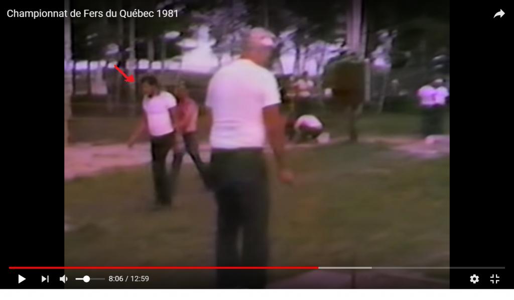 Extrait vidéo 1981: on voit Yvon Coté (indiqué par la petite flèche rouge)